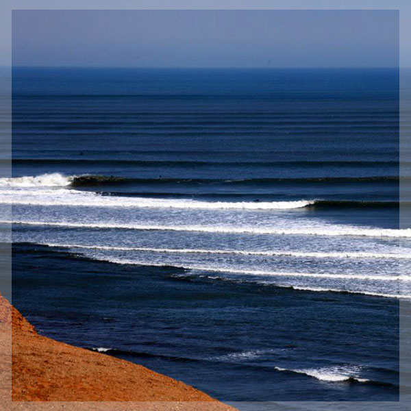 Chicama: surfing the longest left wave of the world inPeru.